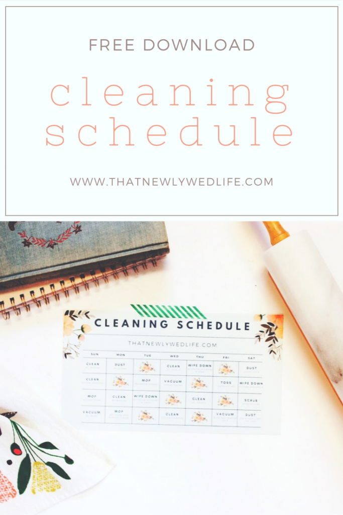 Cleaning Schedule Free Download - That Newlywed Life